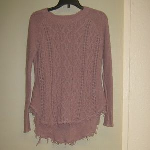 Kaisely Dusty Rose Cotton Distressed Sweater